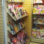 Magazine shelving unit in store