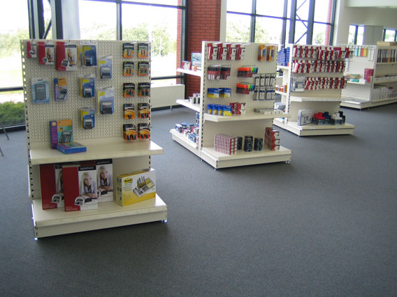 Office Supplies Store Gondola End Bay Shelving