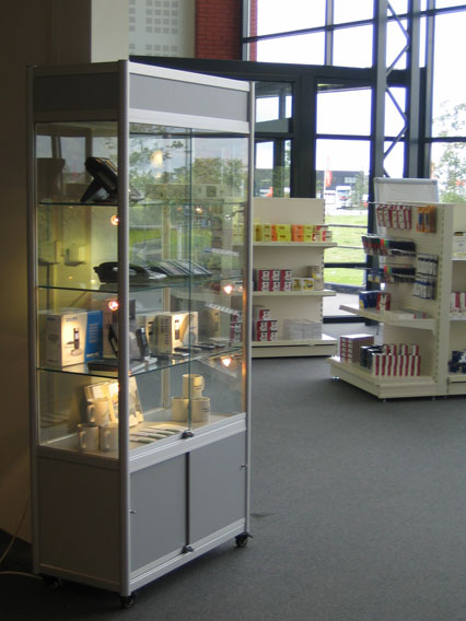 Glass Display Cabinet in Store