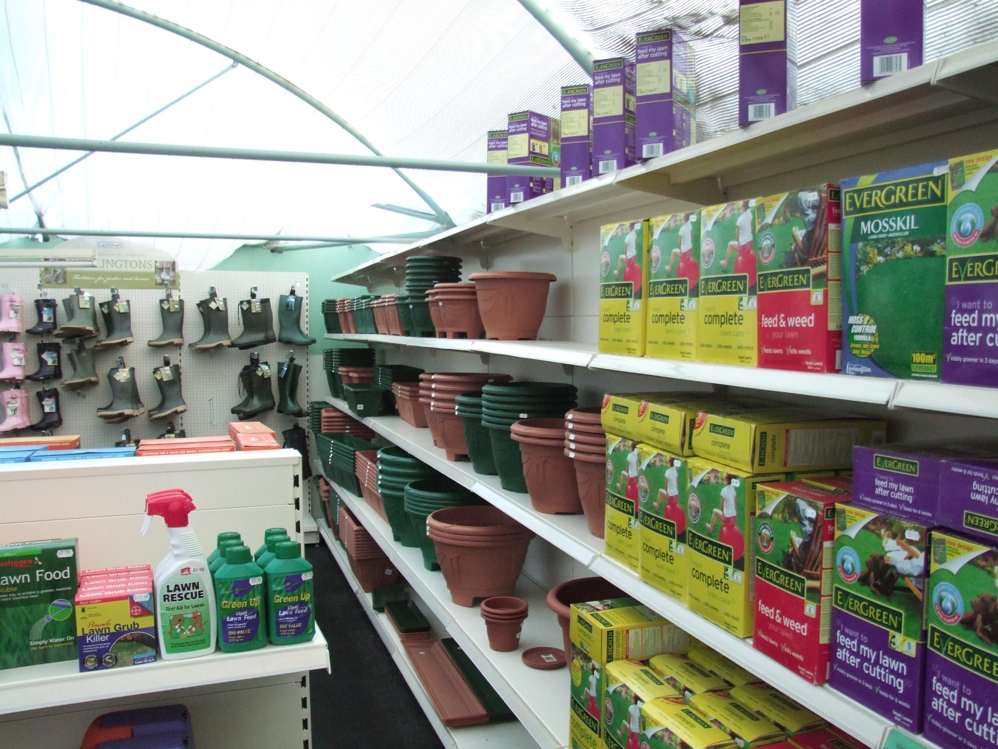 Wall Shelving in Garden Centre