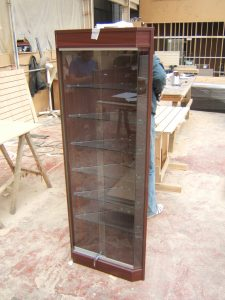 Wooden Corner Display Cabinet with Sliding Glass Doors