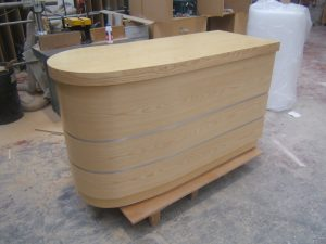 Front View of Round Ended Counter / Cash and Wrap Counter