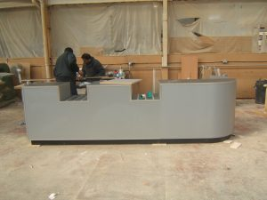 Round Ended Convenience Store Counter with Two Serving Wells