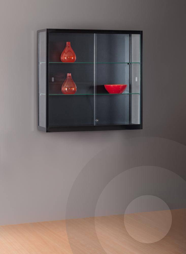 Superior Black Wall Mounted Display Cabinet With Glass Top