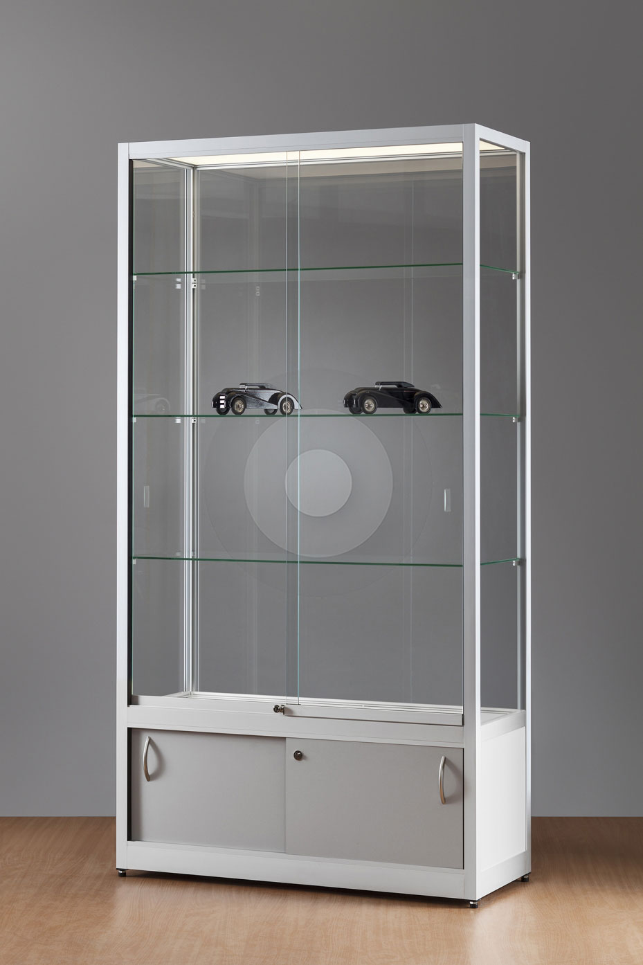 Wide Display Cabinets with Glass Top   Shelving Megastore