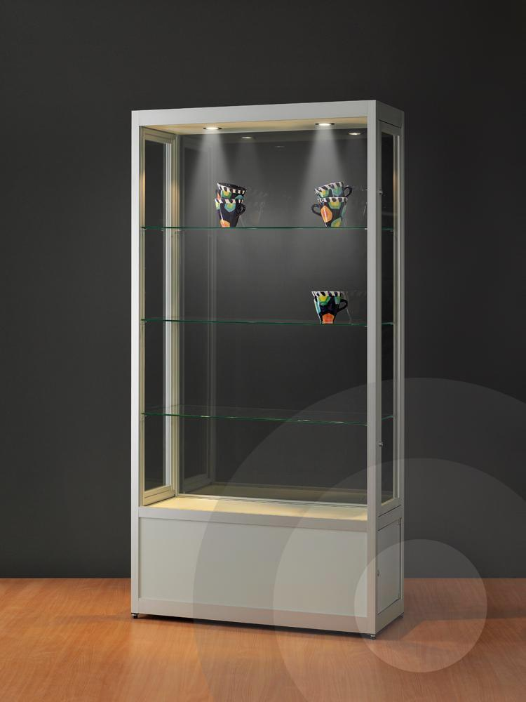 Dustproof Display Cabinet with Storage Cupboard   Glass Showcases