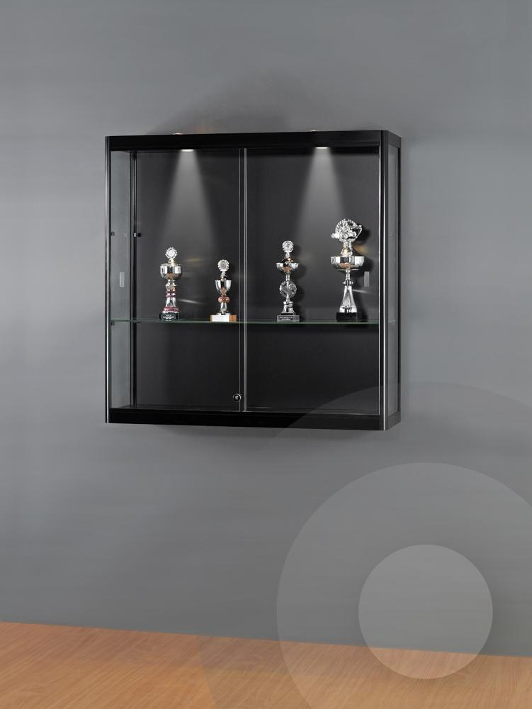 Black Wall Mounted Display Cabinet Glass Showcases