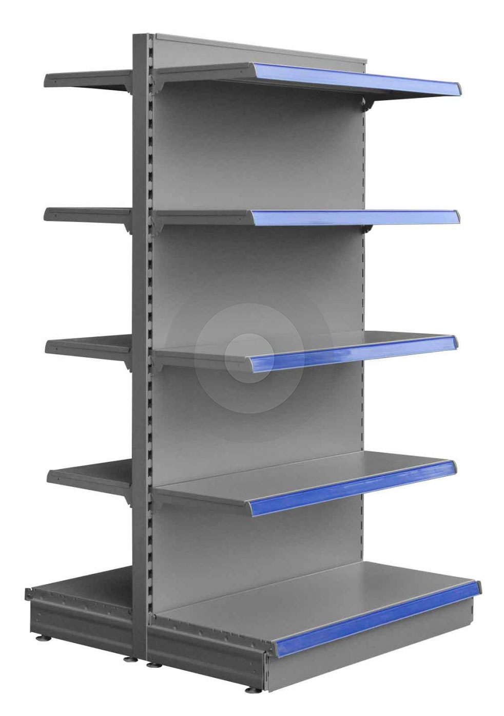 Tall Silver gondola shelving with 4 upper shop shelves
