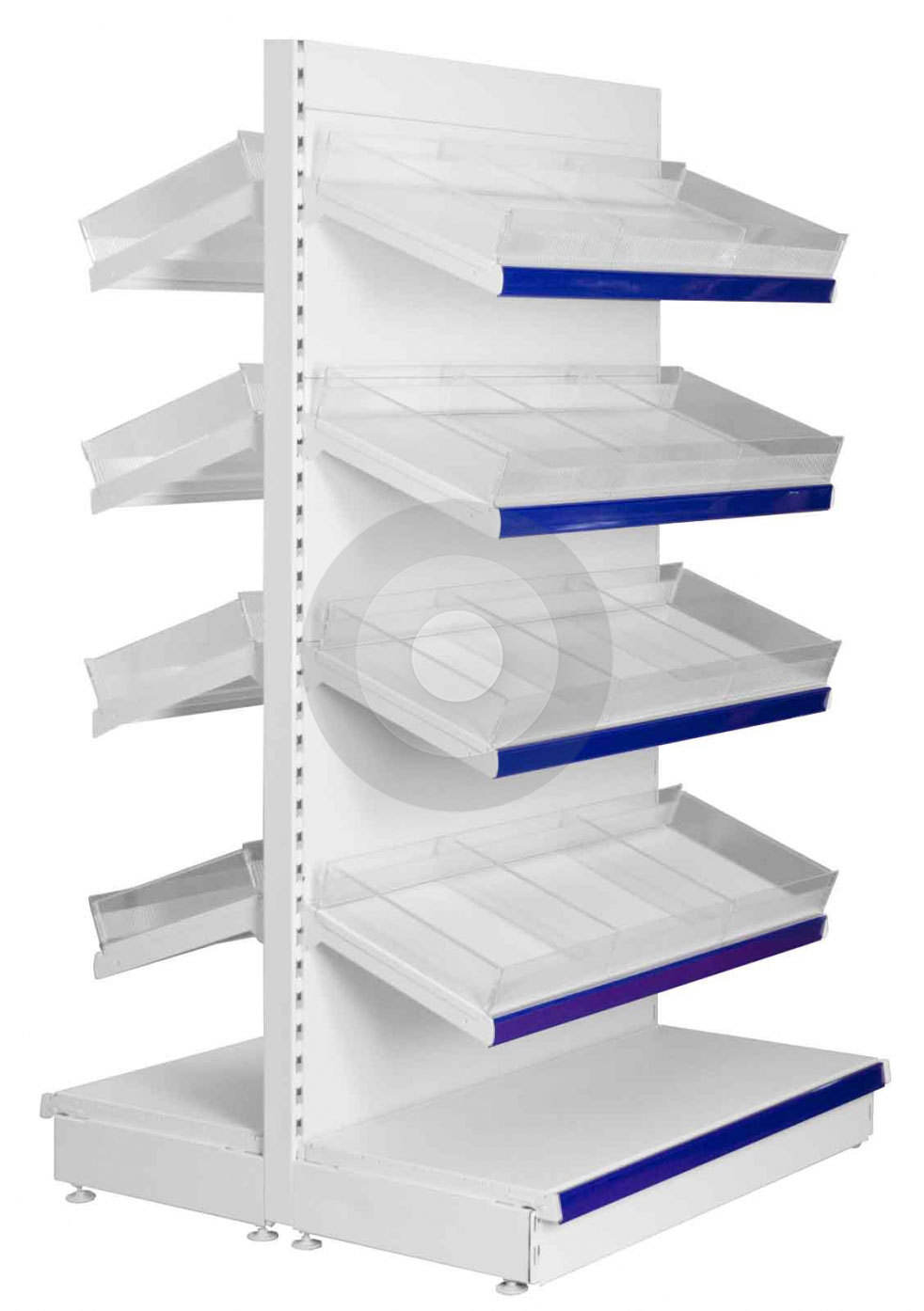 Gondola Shelving With Plastic Risers And Dividers Base 4