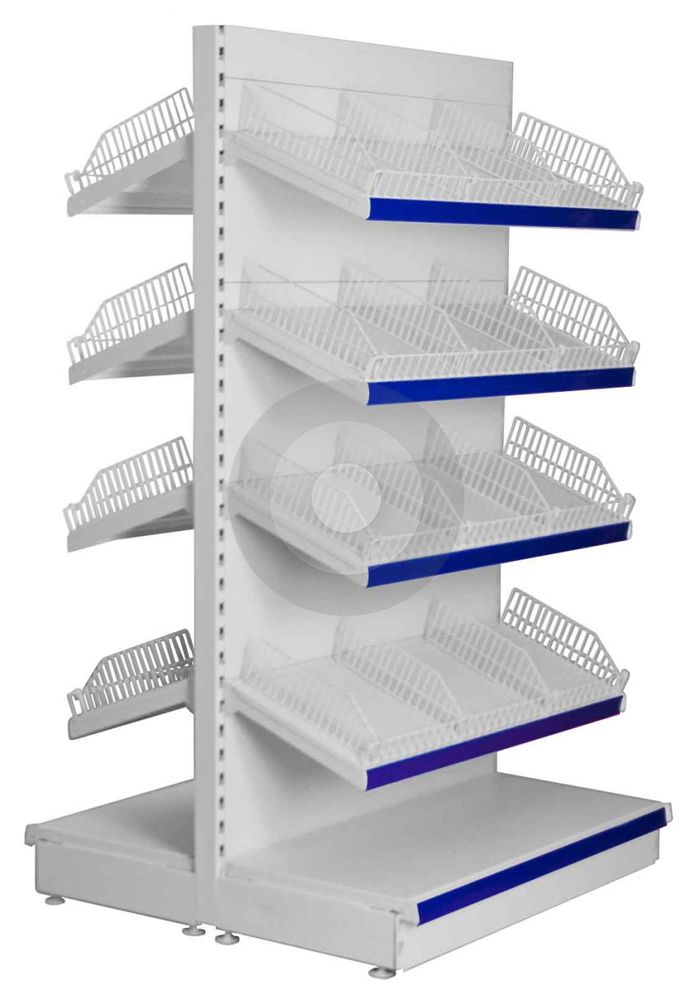 Gondola Shelving With Wire Risers And Dividers Shelving