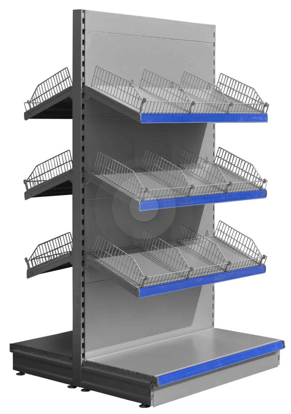 Gondola Shelving with Wire Risers and Dividers (Base + 3) Silver