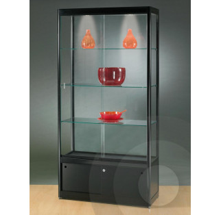 Black  Display Cabinet with Cupboard