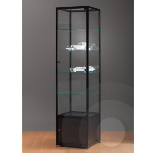 Black Display Cabinet with Storage Cupboard and Glass Top