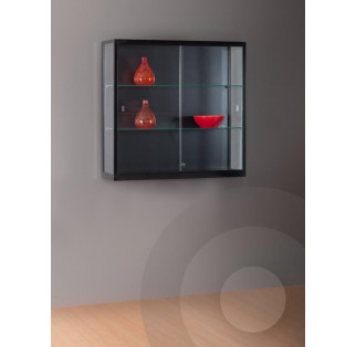 Black Wall Mounted Display Cabinet  with Glass Top