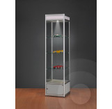 Display Cabinet with Illuminated Header and Storage Cupboard