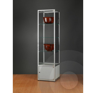Display Cabinet with Storage Cupboard and Glass Top