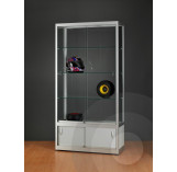 Wide Display Cabinet with Glass Top and Lower Case