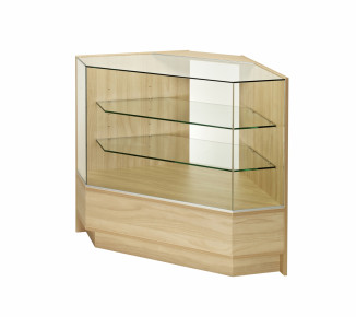 Angled Display Corner counter with glass front