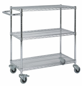 Low Chrome Wire 3 Tier Trolley with Handle
