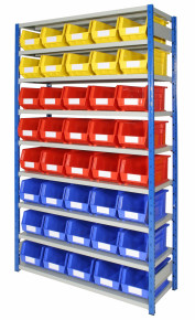 expo 4 bay with plastic storage bins