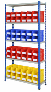 rivet racking with plastic storage bins