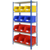 anco rivet racking with plastic storage bins