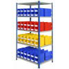 double sided rivet racking with storage bins