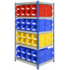 double sided shelving with plastic storage bins