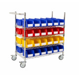 Double Sided Chrome Trolleys With Plastic Bins for Assembly Lines