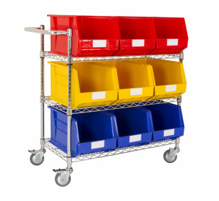 Single Sided Chrome Trolleys With Plastic Bins for Assembly Lines