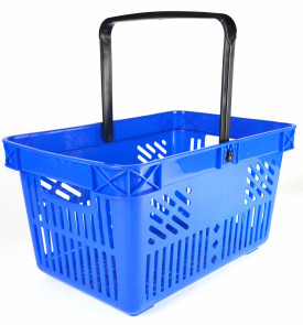large blue shopping basket