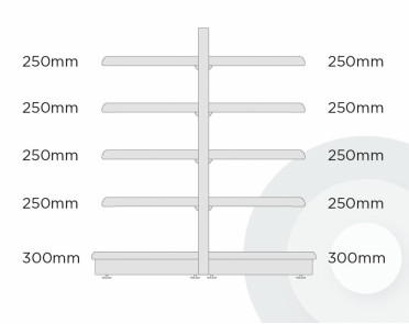 tall extra shallow gondola shelving diagram