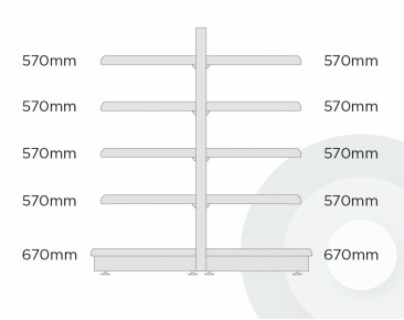 extra deep gondola shelving with 670mm base and 4 x 570mm upper shelves diagram