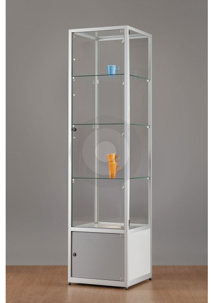 Display Cabinet with Glass Top and Storage Cupboard