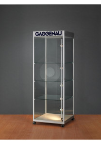 Display cabinet with logo header top