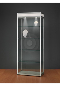 Display cabinet with illuminated header for branding logo