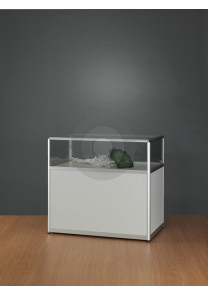 Shop counter with glass top and storage underneath