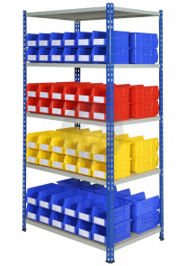 Industrial shelving with display bins