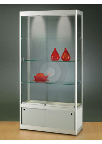 Wide Display Cabinet with Ceiling Light and Under Storage Cupboard