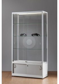 Wide display cabinet with glass top and under storage cupboard