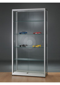 Wide display cabinet with glass top