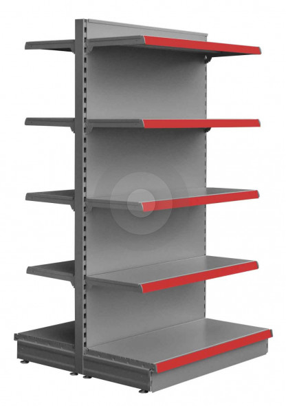 silver gondola with 4 upper shelves each side