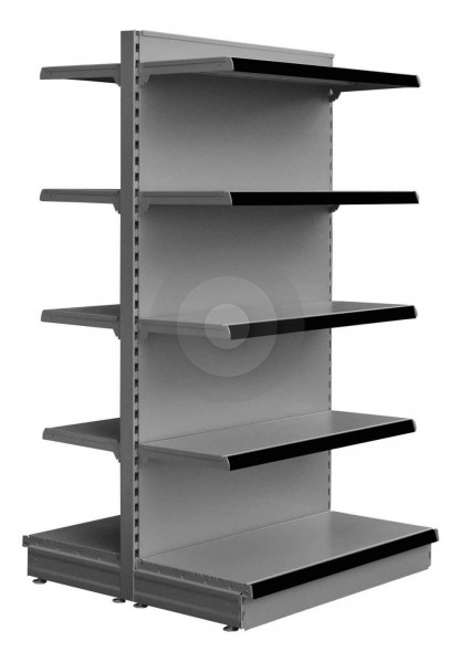 silver gondola shelving for shops with 10 shelves