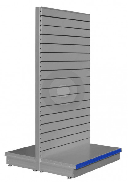 silver gondola shelving with slatted back panels