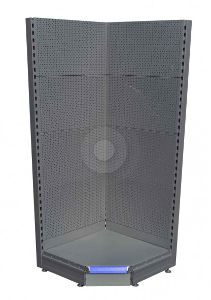 silver corner peg board unit