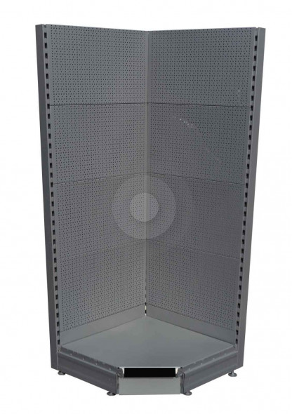 silver corner pegboard display for shops