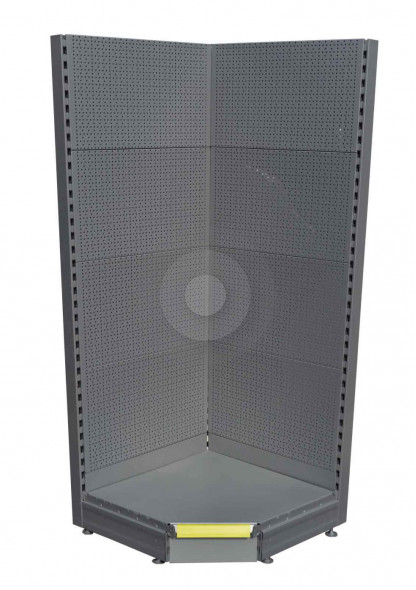 silver perforated back panel shelving unit