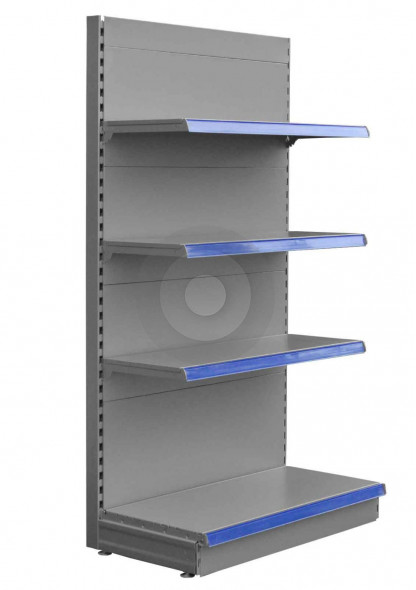 silver end shelving bay with 3 upper shelves