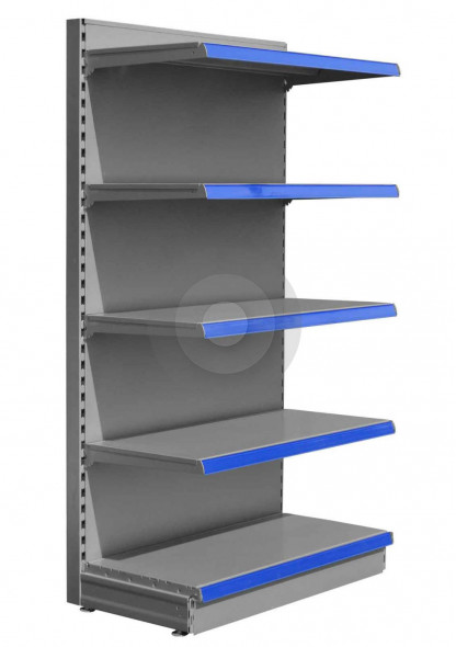Silver gondola end bay with 4 upper shelves