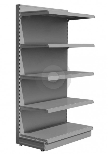 Silver shelving end bay with 4 upper shelves